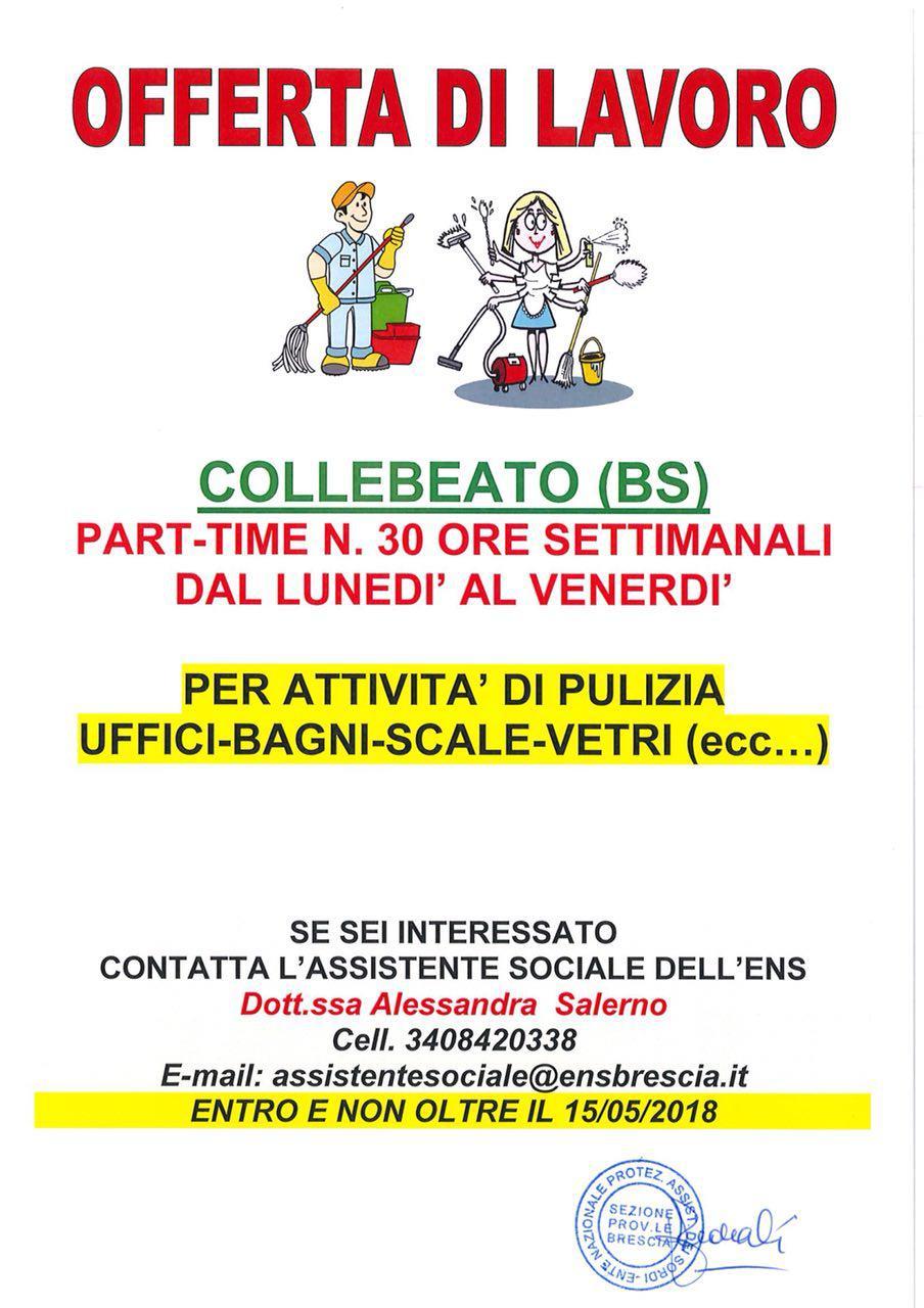 OFFERTA DI LAVORO - COLLEBEATO (BS)
